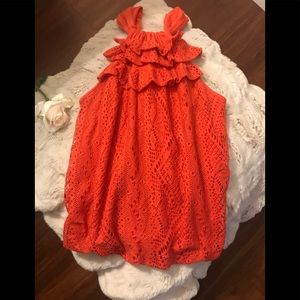 Ella Moss Crochet Crew Neck Sleeveless Top